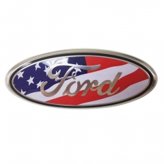 "Ford Front Tailgate Emblem, Oval 9""X3.5"", American Flag Decal Badge Nameplate for 04-14 F150 F250 F350, 11-14 Edge, 11-16 Explorer, 06-11 Ranger"