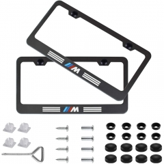 2pcs M Style Stainless Steel License for BMW Plate Frame with Screw Caps Cover Set, Matte Black