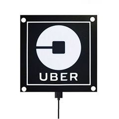 LED Sign For UBER, Car Sticker Light Sign TAXI Decal Bright Glowing with Bright Lights Removable USB Rechargeable Lithium Ion Battery, Best UBER Sign