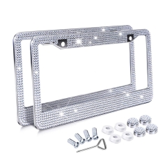Shiny Bling License Plate Frame for Women, Handmade Rhinestone Crystal Stainless Steel Auto License Plate Frame Covers Matching with Screws Caps Set,