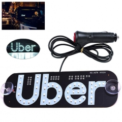 White LED Cigarette Lighter Uber Sign & USB Uber Sign, Glowing LED Light Logo Decal Stickers Hook on Car Window with DC12V Car Charger Inverter (White