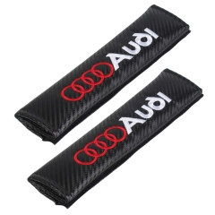 Red Lettering  Carbon Fiber Seat Belt Cover Shoulder Pad For Audi