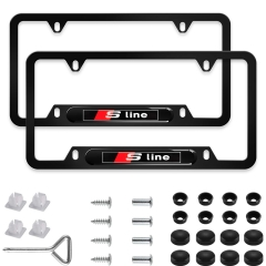 2Pcs Newest Custom Personalized 4 Hole Matte Aluminum alloy Audi Sline Logo License Plate Framewith Screw Caps Cover Set,Applicable to US Standard car
