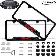 2-Pieces  GMC License Plate Frame,Logo Before and After High-Grade Stainless Steel Resin Logo License Plate Frame for GMC