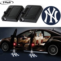2Pcs Wireless Yankee Logo Car Door LED Projector Light, Car Courtesy Welcome Logo Shadow Ghost Light, Laser Emblem Logo Lamps for Yankees Fans