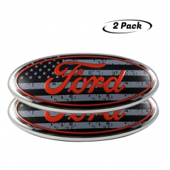 "2PCS 2004-2014 F150 Front Grille Tailgate Emblem Compatible With Ford, Oval 9""X3.5"", American Flag Decal Badge Nameplate Also Fits for 04-14 F250 F350"