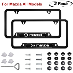 2pcs Mazda Logo License Plate Frame 3D Polyurethane Logo Matte Aluminum License Plate,with Screw Caps, License Plate Covers for Mazda All Models