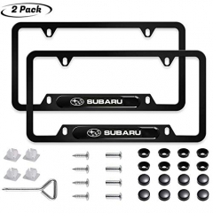 2pcs for Subaru License Plate Frame 3D Polyurethane Logo Matte Aluminum License Plate,with Screw Caps, License Plate Covers Fit Subaru All Models