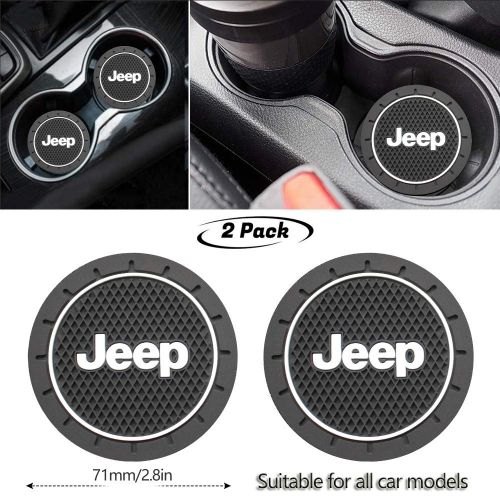 2Pcs Durable Non-Slip Silicone Jeep Logo Cup Holder mat,Auto Cup Holder Insert Coaster pad for Jeep