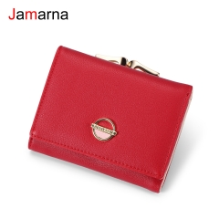 Jamarna Women Wallets Coin Purse Wallet Small Brand Design High Quality PU Leather Short Wallet Female Purse Card Holder Red