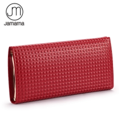 Jamarna Wallet Female Special Clasps Closure Wallet Female Genuine Leather Purse Clutch Card Holder Red Purse For Coins Fashion