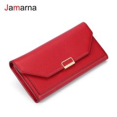 Jamarna Women Wallets Purse Red Long Wallet Brand Design High Quality PU Leather Card Holder Coin Purse Wallet Female Red
