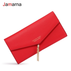 Jamarna Wallet Female Metal Tassel Women Wallets Black Red Long Clutch Women Wallet Female PU Leather Purse For Women Fashion