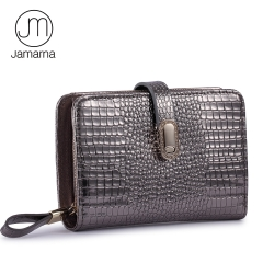 Jamarna Wallet Female Genuine Leather Women Wallets Crocodile Pattern Short Small Wallet Magnetic Buckle Women Purse Card Holder