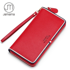 Jamarna Wallet Female Genuine Leather Wallet Women Long Clutch Zipper Women Purse Card Holder Classic Red White And Blue Design