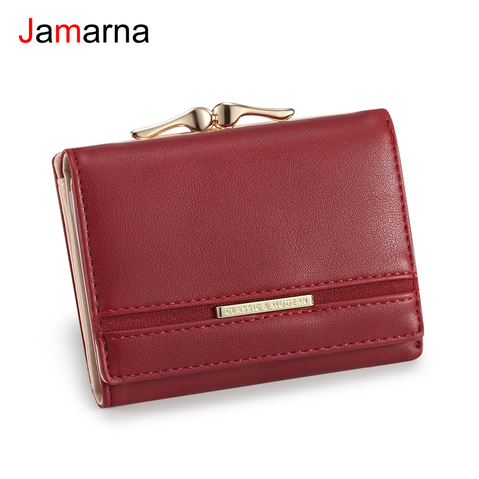 Jamarna Wallet Female PU Coin Purse Clasps Small Wallet Purse Women Red Slim Wallet Card Holder Small Wallet For Coins Splice
