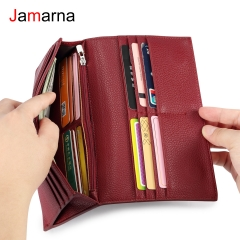 Jamarna Wallet Female Long Clutch Women Wallet Purse Red Magnetic Closure PU Card Holder Wallet Female New Arrival Zipper