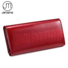 Jamarna Women Wallet Fish Pattern Red Wallet Female Genuine Leather Clasps Coin Purse Soft Leather Card Holder Purse Clutch