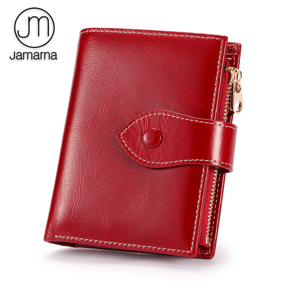 Jamarna Wallet Female Purse Red Small Short Wallet Female Genuine Leather Zipper Coin Pocket Card Holder Oil Wax Purse For Women