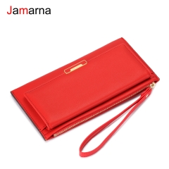 Jamarna Wallet Female PU Leather Long Clutch Women Wallet Female Women Wallets Red Zipper Phone Pocket Coin Purse Wristlet