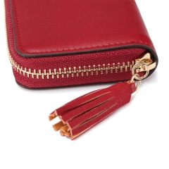 Jamarna Card Holder Leather Organ Pattern Bank Card Holder Zipper Coin Purse Woman Credit Card Holder Slim Small Red Wallet