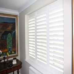 wooden white plantation shutters for window and do...