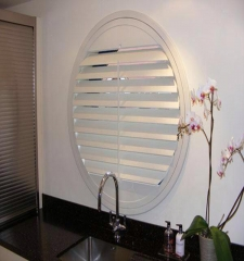 Round wooden white louver plantation shutters for ...