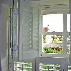 wooden white louver plantation shutters for window...