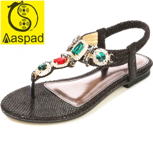 Aaspad Women's Flat Sandals with Elastics Thong Strappy and Rhinestone Embellished Black Color