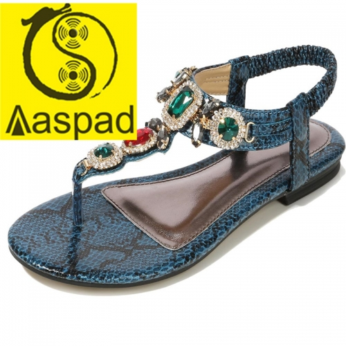 Aaspad Women's Flat Sandals with Elastics Thong Strappy and Rhinestone Embellished Navy Blue Color