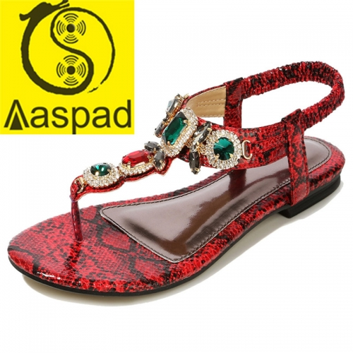 Aaspad Women's Flat Sandals with Elastics Thong Strappy and Rhinestone Embellished Red Color