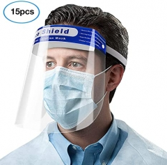 5Pcs Safety Face Shield, Anti-fog Body Fluids Spray Unisex Reusable Adjustable Transparent Full Face Safety Breathable Protective Visor Facial Cover