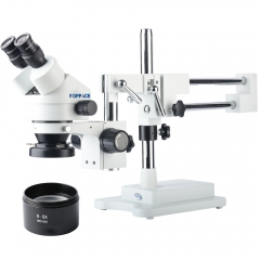 KOPPACE 3.5X-45X Magnification,Double-Arm Boom Stand,Binocular Stereo Microscope,Mobile Phone Repair Microscope,Eyepieces WF10X/20,144 LED Ring Light,Includes 0.5X Barlow Lens