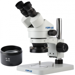 KOPPACE 3.5X-45X,Binocular Stereo Zoom Microscope,WF10X Eyepieces,144 LED Ring Light,Includes 0.5X  Barlow Lens,Mobile phone repair microscope