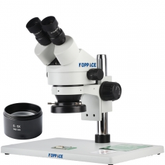 KOPPACE 3.5X-45X,Large Platform,Binocular Stereo microscope,WF10X Eyepieces,144 LED Ring Light,Includes 0.5X Barlow Lens