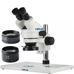 KOPPACE 3.5X-90X,Large platform,Binocular Stereo microscope,WF10X Eyepieces,144 LED Ring Light,Includes 0.5X and 2.0X Barlow Lens