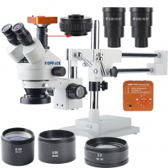 KOPPACE 40 MP,2.1X-180X Microscope,60FPS,HDMI Industry microscope Camera,Mobile phone repair Microscope,144 LED Ring Light,Includes 0.3X,0.5X and 2.0X Barlow Lens