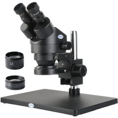 KOPPACE 3.5X-90X,Large platform,Black Binocular Stereo microscope,WF10X Eyepieces,144 LED Ring Light,Includes 0.5X and 2.0X Barlow Lens