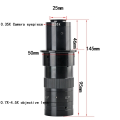 KOPPACE 22X-143X,industrial Monocular microscope lens,Eyepiece 0.35X,zoom objective 0.7X-4.5X Zoom lens,25mm C-Mount interface Electron microscope lens