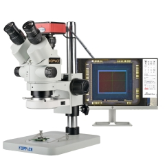 KOPPACE 3.5X-180X,HD Trinocular Stereo Measuring Microscope,Can Take Pictures and Videos,Export Measurement data table,With Zoom lock Function
