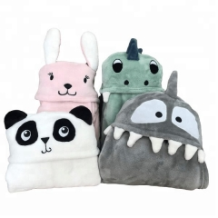 Soft flannel fleece baby hood blanket throw with animal head kigurumi