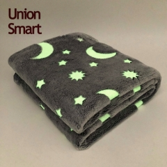 Super soft glow in the dark luminous flannel coral fleece blanket throw with moon and stars