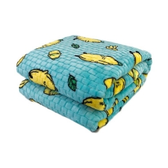Printing new fashion bedding blankets check embossed plush flannel fleece fabric baby blanket