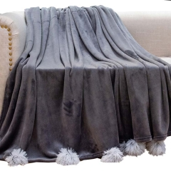 Solid velvet Fleece blanket with chenille fringes POMPOM