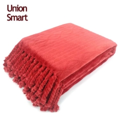Cable Knit Burn Out Blanket With Hand Tassel