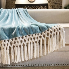 Solid Color Flannel Fleece Blanket With Chenille Tassel