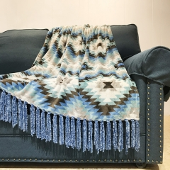 Printed Flannel Fleece Blanket With Chenille Tassel