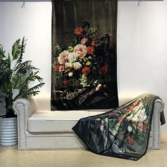super soft HD retina printing flannel fleece blanket throw with 3D digital flower pattern design