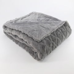 Polyester embossed solid plush mink blankets bunny fur fleece throw