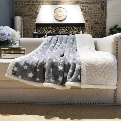 Stars printed fluffy baby blanket thick heavy Flannel sherpa Fleece Blankets